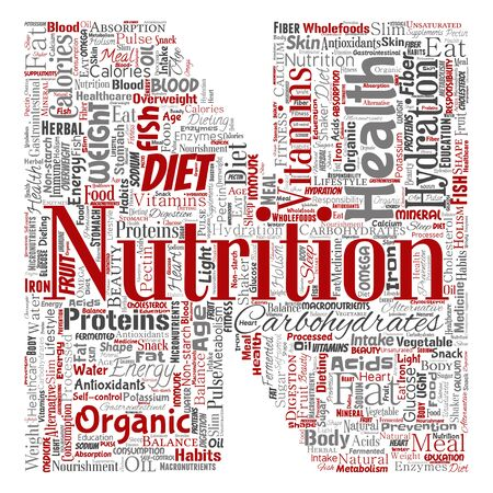 Conceptual nutrition health diet letter font N word cloud isolated background. Collage of carbohydrates, vitamins, fat, weight, energy, antioxidants beauty mineral, protein medicine concept Reklamní fotografie