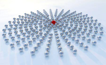 Konzept oder konzeptionelle Sammlung von Bällen in Form eines Kreises mit einem roten auf blauem Hintergrund als Metapher für Kreativität und Führung. Ein Mut oder Erfolg 3D-Darstellung