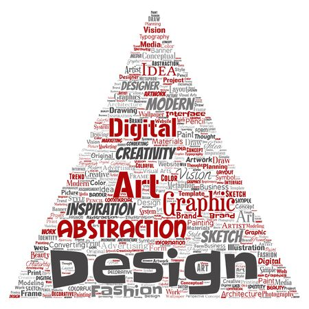 Conceptual creativity art graphic identity design visual triangle arrow word cloud isolated background. Collage of advertising, decorative, fashion, inspiration, vision, perspective modeling Reklamní fotografie