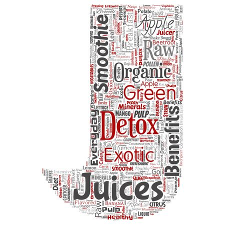 Conceptual fresh natural fruit or vegetable juices letter font red healthy diet organic beverage word cloud isolated background. Collage of green exotic, tropical raw nutrition concept