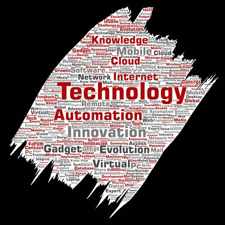 Conceptual digital smart technology, innovation media paint brush paper word cloud isolated background. Collage of information, internet, future development, research, evolution or intelligence Reklamní fotografie