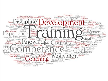 Vector concept or conceptual training, coaching or learning, study word cloud isolated on background. Collage of mentoring, development, motivation skills, career, potential goals or competence text Illusztráció