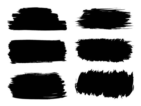 Vector collection or set of artistic black paint, ink or acrylic hand made creative brush stroke backgrounds isolated on white as grunge or grungy art, education abstract elements frame design Illusztráció