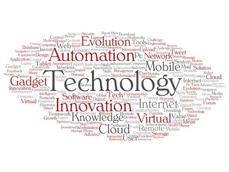 Vector concept or conceptual digital smart technology, innovation media word cloud isolated background. Collage of information, internet, future development, research, evolution or intelligence text