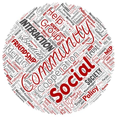 Conceptual community, social, connection round circle red word cloud isolated background. Collage of group, teamwork, diversity, friendship, communication, inclusion, care, respect concept Foto de archivo - 129570438