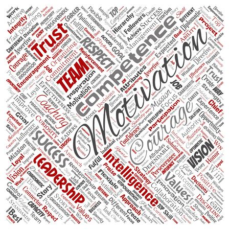Conceptual business leadership strategy, management value square red word cloud isolated background. Collage of success, achievement, responsibility, intelligence authority or competence Foto de archivo - 129570440