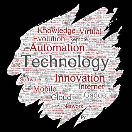 Technologie intelligente numérique conceptuelle, innovation médias peinture pinceau papier mot nuage isolé fond. Collage d'informations, internet, développement futur, recherche, évolution ou intelligence Banque d'images