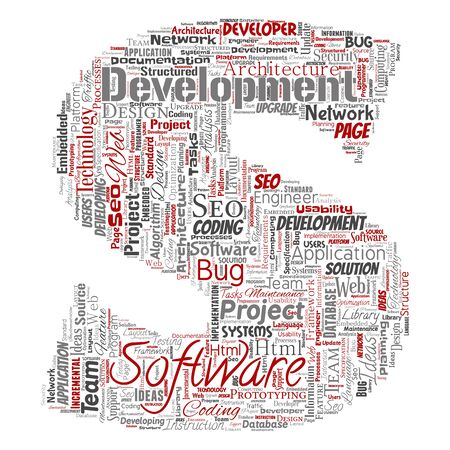 Conceptual software development project coding technology letter font S word cloud isolated background. Collage of application web design, seo ideas, implementation, testing upgrade concept Foto de archivo - 129570449