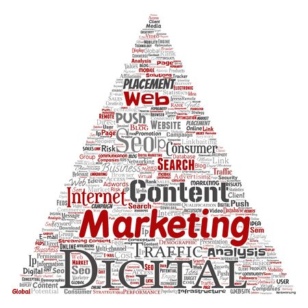 Concept or conceptual digital marketing seo traffic triangle arrow word cloud isolated background. Collage of business, market content, search, web push placement or communication technology Foto de archivo - 129570451