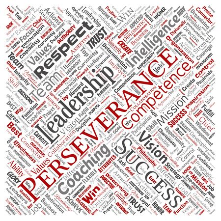 Conceptual business leadership strategy, management value square red word cloud isolated background. Collage of success, achievement, responsibility, intelligence authority or competence Foto de archivo - 129570487