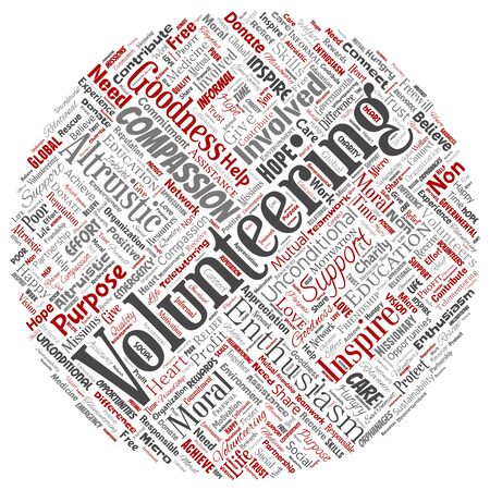 Conceptual volunteering, charity, humanitarian round circle red word cloud isolated background. Collage of selfless, support, philanthropy, nonprofit,  goodness, togetherness, giving concept Foto de archivo - 129570490