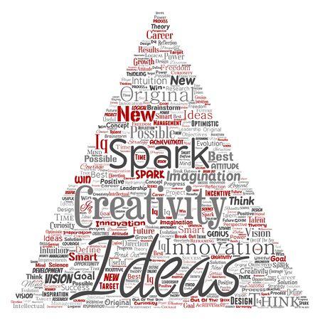 Conceptual creative idea brainstorming human triangle arrow word cloud isolated background. Collage of spark creativity original, innovation vision, think, achievement or smart genius concept Foto de archivo - 129570496