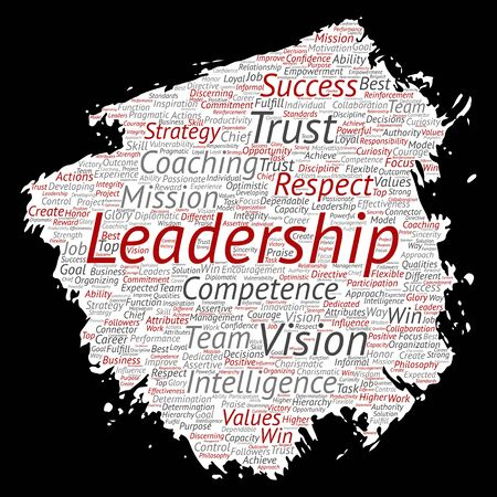 Conceptual business leadership strategy, management value paint brush paper word cloud isolated background. Collage of success, achievement, responsibility, intelligence authority or competence Foto de archivo - 129570511