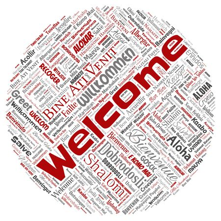 Conceptual abstract welcome or greeting international round circle red word cloud in different languages or multilingual. Collage of world, foreign, worldwide travel translate, vacation tourism Foto de archivo - 129570510