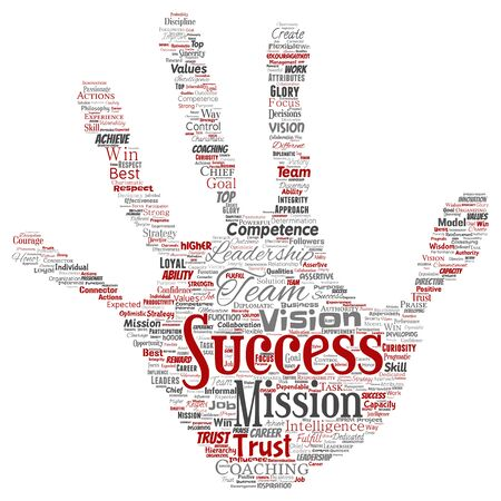 Conceptual business leadership strategy, management value hand print stamp word cloud isolated background. Collage of success, achievement, responsibility, intelligence authority or competence Foto de archivo - 129570509
