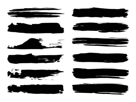 Vector collection of artistic grungy black paint hand made creative brush stroke set isolated on white background. A group of abstract grunge sketches for design education or graphic art decoration