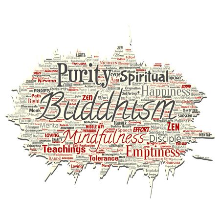 Vector conceptual buddhism, meditation, enlightenment, karma old torn paper word cloud isolated background. Collage of mindfulness, reincarnation, nirvana, emptiness, bodhicitta, happiness concept  イラスト・ベクター素材