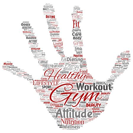 Conceptual healthy living positive nutrition sport hand print stamp word cloud isolated background. Collage of happiness care, organic, recreation workout, beauty, vital healthcare spa concept