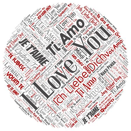 Conceptual sweet romantic I love you multilingual message round circle red word cloud isolated background. Collage of valentine day, romance affection,  happy emotion or passion lovely concept