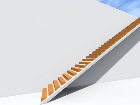 Conceptual stair on wall background building or architecture as metaphor to business success, growth, progress or achievement. 3D illustration of creative steps riseing up to the top as vision design Stock fotó