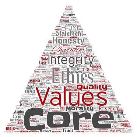 Konzeptionelle Kernwerte Integrität Ethik Dreieck Pfeil Konzept Wortwolke isoliert Hintergrund. Collage aus Ehrlichkeit, Qualität, Vertrauen, Aussage, Charakter, Ausdauer, Respekt und Vertrauenswürdigkeit Standard-Bild