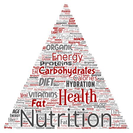 Conceptual nutrition health diet triangle arrow word cloud isolated background. Collage of carbohydrates, vitamins, fat, weight, energy, antioxidants beauty mineral, protein medicine concept