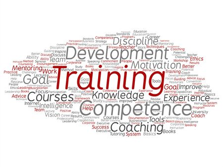 Vector concept or conceptual training, coaching or learning, study word cloud isolated on background. Collage of mentoring, development, motivation skills, career, potential goals or competence text Çizim