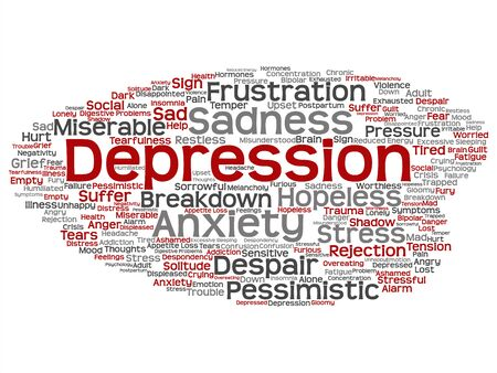 Vector concept conceptual depression or mental emotional disorder problem abstract word cloud isolated background. Collage of anxiety sadness, negative, sad, despair, unhappy, frustration symptom text
