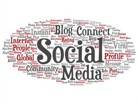 Vector conceptual social media networking or communication marketing technology abstract word cloud isolated on background. A tagcloud for global community worldwide concept or advertising metaphor