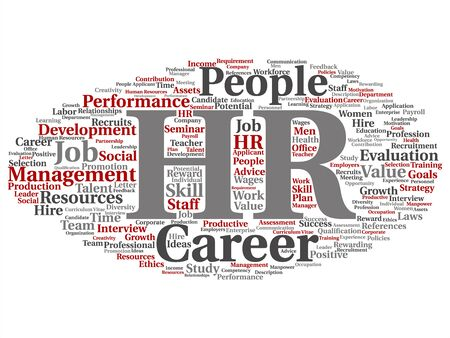Vector concept conceptual hr or human resources career management abstract word cloud isolated on background. Collage of workplace, development, hiring success, competence goal, corporate or job text Illusztráció