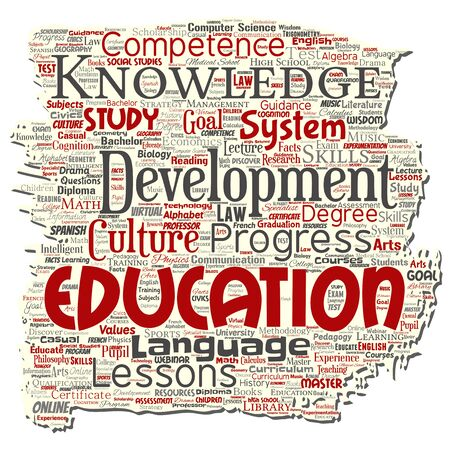Vector conceptual education, knowledge, information old torn paper word cloud isolated background. Collage of learning, infographic, training, teaching, system, progress, online, culture concept Çizim