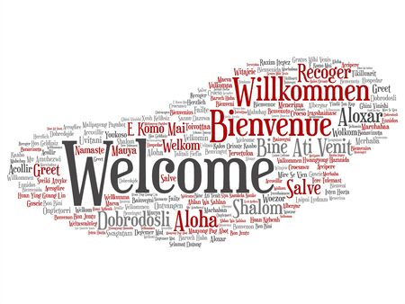 Vector concept or conceptual abstract welcome or greeting international word cloud in different languages or multilingual. Collage of world, foreign, worldwide travel, translate, vacation tourism text Ilustração