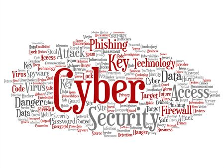 Vector concept or conceptual cyber security access technology abstract word cloud isolated background. Collage of phishing, key virus, data attack, crime, firewall password, harm, spam protection text Illustration