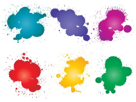 Collection of artistic grungy paint drop, hand made creative splash or splatter stroke set isolated white background. Abstract grunge dirty stains group, education or graphic art decoration Banco de Imagens