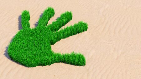 Concept or conceptual green grass handprint on sand background. A metaphor for ecology, environment, recycle, nature conservation, spring summer or protection against global warming 3d illustration Stok Fotoğraf