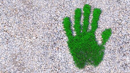 Concept or conceptual green grass handprint on gravel background. A metaphor for ecology, environment, recycle, nature conservation, spring, summe or protection against global warming 3d illustration  Stockfoto