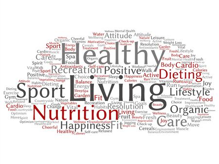 Vector concept or conceptual healthy living positive nutrition sport abstract word cloud isolated background. Collage of happiness, care, organic, recreation workout, beauty, vital healthcare spa text