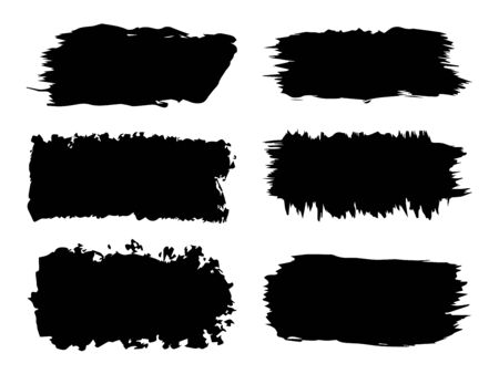 Vector collection or set of artistic black paint, ink or acrylic hand made creative brush stroke backgrounds isolated on white as grunge or grungy art, education abstract elements frame design Ilustração