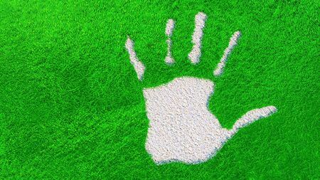 Concept or conceptual ornamental gravel handprint on grass background. A metaphor for ecology, environment, recycle, nature conservation, spring or protection against global  warming  3d illustration Banco de Imagens - 131925388