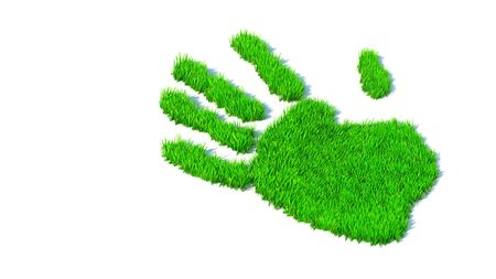 Concept or conceptual green grass handprint isolated on white background. A metaphor for ecology, environment, recycle, nature conservation,  pring or protection against global warming 3d illustration Banco de Imagens - 131925488
