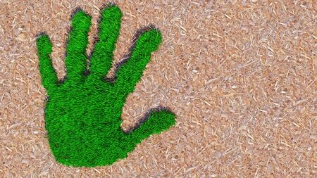 Concept or conceptual green grass handprint on wood shavings background. A metaphor for ecology, environment, recycle, nature  conservation, spring or protection against global warming 3d illustration Banco de Imagens - 131926175