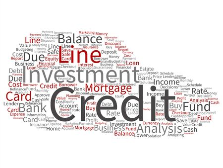 Vector conceptual credit card line investment balance abstract word cloud isolated background. Collage of money analysis, business fund balance, estate, mortgage, safe refinance solution text concept 일러스트
