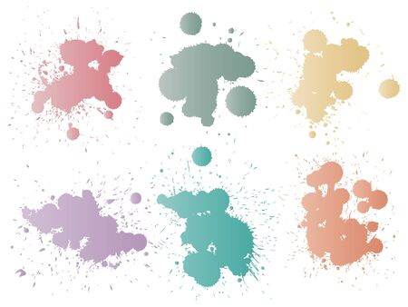 Collection of artistic grungy paint drop, hand made creative splash or splatter stroke set isolated white background. Abstract grunge dirty stains group, education or graphic art decoration 写真素材
