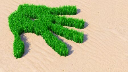 Concept or conceptual green grass handprint on sand background. A metaphor for ecology, environment, recycle, nature conservation, spring summer or protection against global warming 3d illustration Imagens