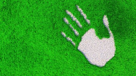 Concept or conceptual ornamental gravel handprint on grass background. A metaphor for ecology, environment, recycle, nature conservation, spring or protection against global  warming  3d illustration