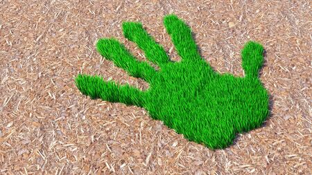 Concept or conceptual green grass handprint on wood shavings background. A metaphor for ecology, environment, recycle, nature  conservation, spring or protection against global warming 3d illustration