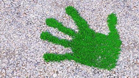 Concept or conceptual green grass handprint on gravel background. A metaphor for ecology, environment, recycle, nature conservation, spring, summe or protection against global warming 3d illustration  Banco de Imagens