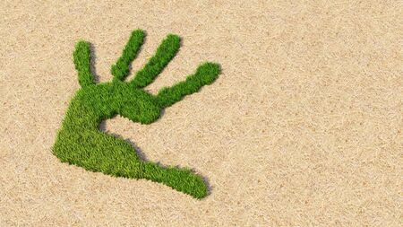 Concept or conceptual green grass handprint on hay background. A metaphor for ecology, environment, recycle, nature conservation, spring summer or protection against global warming 3d illustration