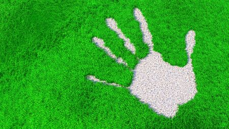 Concept or conceptual ornamental gravel handprint on grass background. A metaphor for ecology, environment, recycle, nature conservation, spring or protection against global  warming  3d illustration Banco de Imagens - 132854688