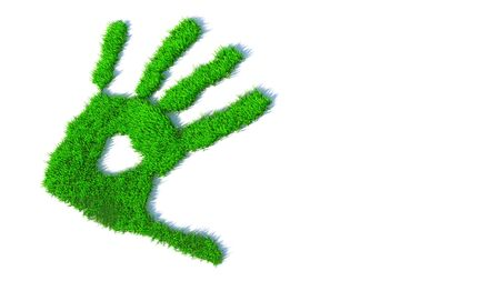 Concept or conceptual green grass handprint isolated on white background. A metaphor for ecology, environment, recycle, nature conservation,  pring or protection against global warming 3d illustration
